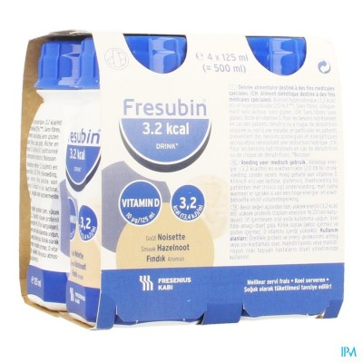 FRESUBIN 3,2KCAL DRINK NOOTJES EASYBOTTLE 4X125ML